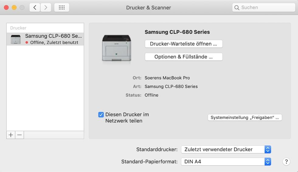 Druckerfreigabe Mac
