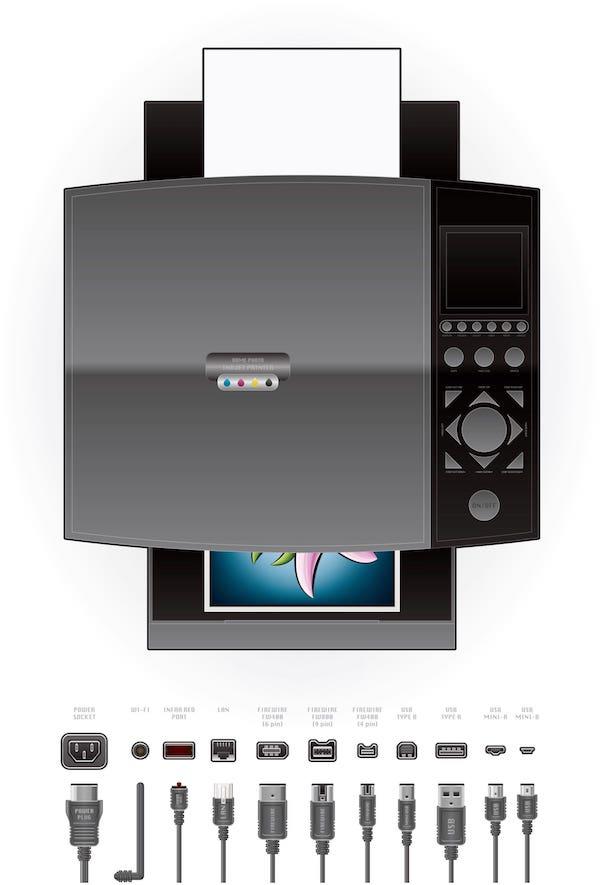 Drucker und verschiedene Druckerkabel