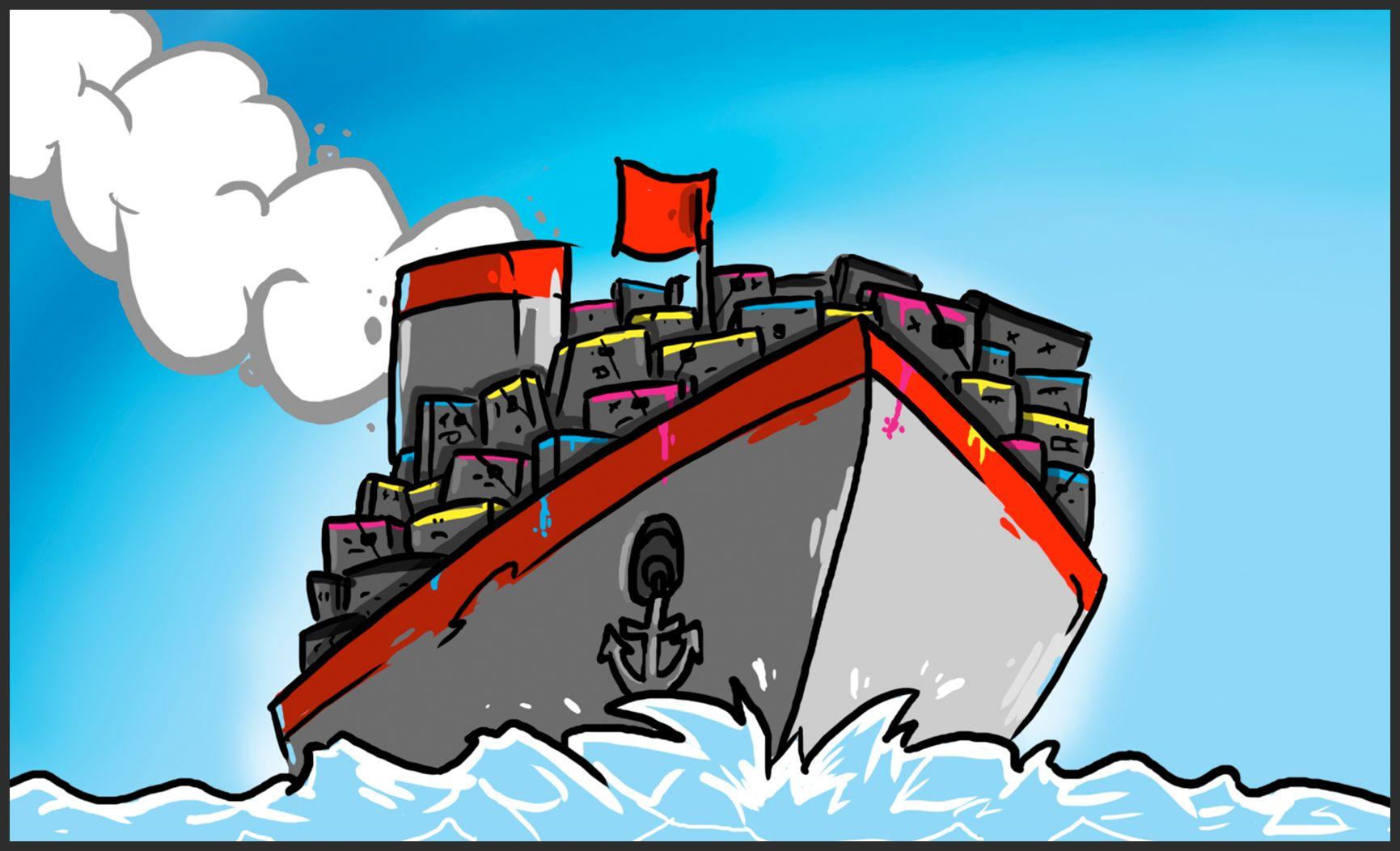 gemaltes Containerschiff auf Ozean mit Druckerpatronen an Bord