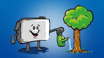 Zeichnung einer glücklichen Druckerpatrone, die einen Baum gießt