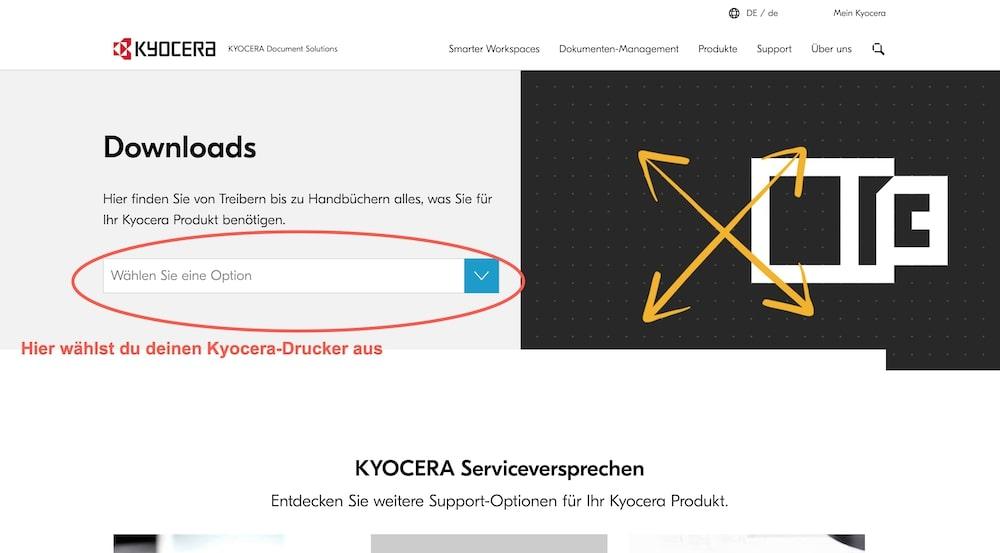 Kyocera-Treiber installieren