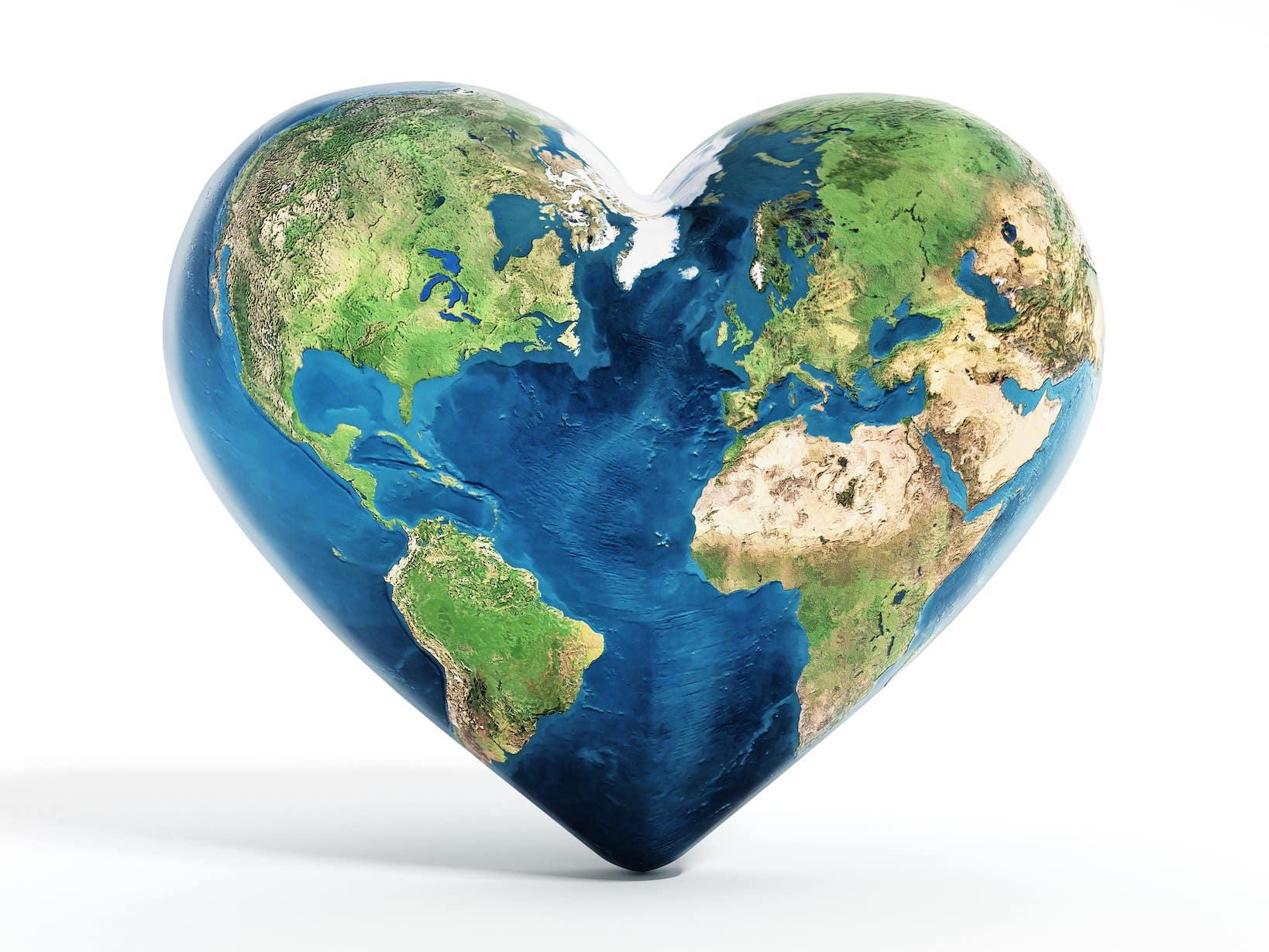 Planet Erde in Herzform
