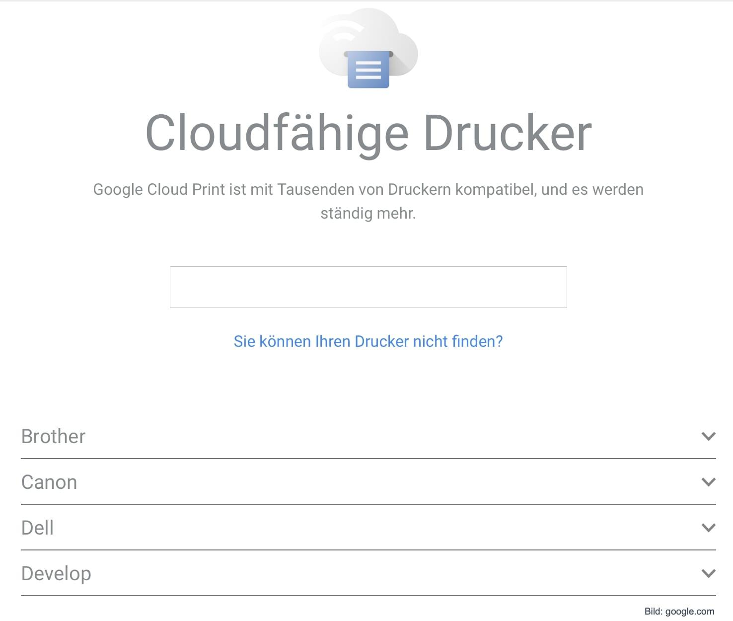 Screenshot Abfrage von Google Cloud Print fähigen Druckern bei Google