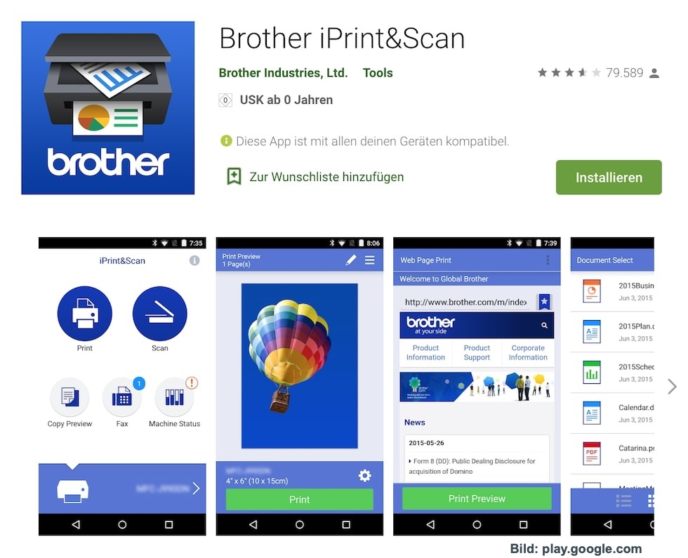 Brother Drucker-App im Playstore