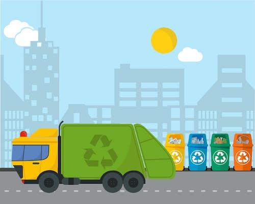 Zeichnung von Müllauto und Mülltonnen für verschiedene Abfälle