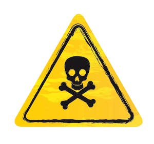 Gift-Symbol dreieckig, gelb mit Totenkopf