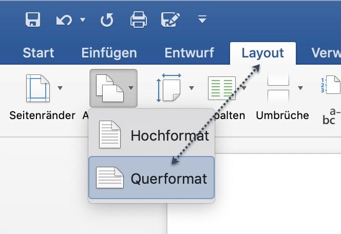 Drucksteuerung - Auswahl zwischen Querformat und Hochformat